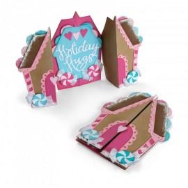 Card, Gingerbread Fold-a-Long- Fustella Sizzix Thinlits