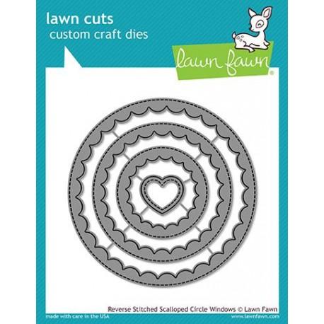 Reverse stitched scalloped circle windows - Fustella Lawn Fawn