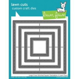 Large Cross-stitched Square Stackables - Fustella Lawn Fawn