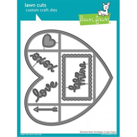Stitched Heart Envelope - Fustella Lawn Fawn