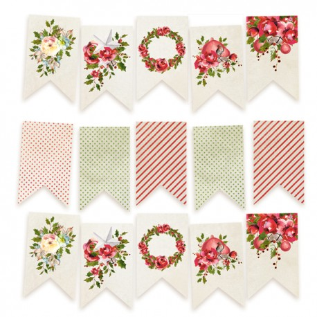 Paper die cut garland Rosy Cosy Christmas, 15pcs