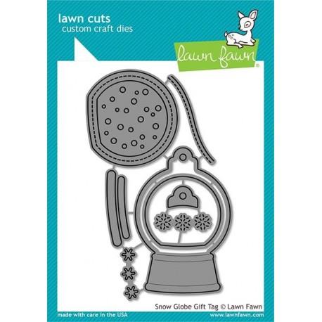 Snow globe gift tag - Fustella Lawn Fawn