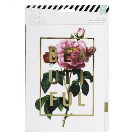 Clear Dividers With Foil Printed Design Memory Planner Large Dividers 6 Pkg Heidi Swapp