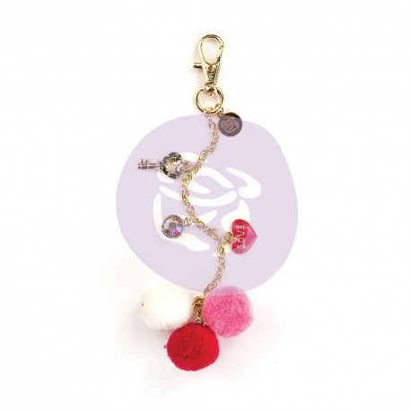 My Prima Planner Embellishments  - Raspberry Kisses Pom Pom Key Chain