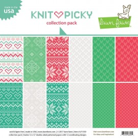 "Blocco di carte Lawn Fawn 12""x12"" - ""Knit picky collection """