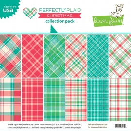 "Blocco di carte Lawn Fawn 12""x12"" - ""Perfectly plaid christmas collection """